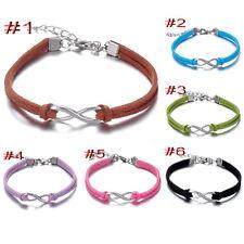 6pcs Multi Infinity Leather Bracelet Faux Suede Friendship Eternal 8