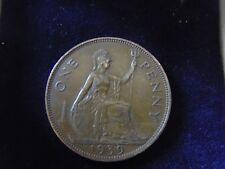 1939 GEORGE VI.-BRITISH SEATED BRITANNIA ONE PENNY BRONZE COIN