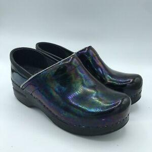 DANSKO Petrol Patent Leather Iridescent No Slip Clogs Black Women's Sz 36 5.5-6