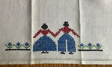"""Vintage Linen 16"""" Tea or Fingertip Towel ~ With Hand Embroidered Man & Woman"""