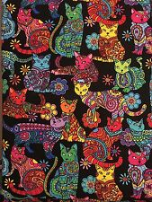Timeless Treasures Color Me Cat  Fabric Material Sold by Quarter of a METRE