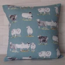 Handmade Cushion Cover - Marson Sheep - Duck Egg Blue -  Same Fabric both Sides