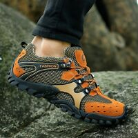 Men's Lace Up Sneakers Breathable Hiking Climbing Outdoor Athletic Casual Shoes