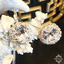 Teramasu Clear Swarovski Crystal with Crystal Rhinestones Leverback Silver Drop