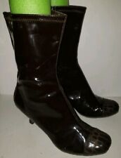 DIEGO DI LUCCA brown Faux Patent Captoe Croc Zip Mid Calf Heel Boots 10
