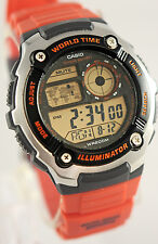 Casio AE-2100W-4AV Mens Red 200M WR Watch Divers 5 Alarms 10 Year Battery New