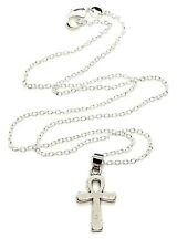 Small Egyptian Ankh Crux Ansata Cross Silver Plated 18 Inch Chain Necklace
