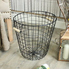 metal wire basket storage waste paper bin storage rustic industrial home gift