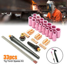 33Pcs Tig Welding Torch Spares kit Gas Lens Collet #10 Pyrex Glass For WP9/20/25