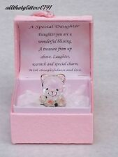 Pink Treasure Chest A Glass Bear Holding Flowers Inscribed A Special Daughter