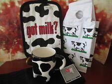 MILK ANYONE ? COW MUG WITH UDDER'S ~ MILK CARTON COVER ~ KITCHEN TOWEL & HOT PAD