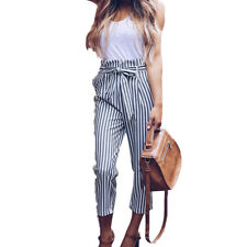 Womens High Waisted Paperbag Trousers Party Cigaratte Pencil Slim Fit Long Pants