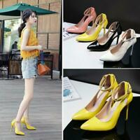 Patent-Leather Pumps Womens High Heels Pointed Toe Ankle Strap Stilettos Shoes