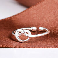 925 Sterling Silver Plated Adjustable Open Ring Thumb Lady  Man Gift Love Heart