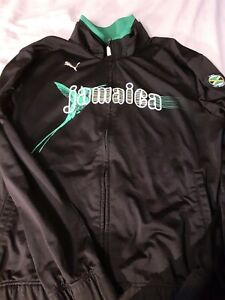 Puma Jamaica L Large Polyester Track Jacket Black Green Mens