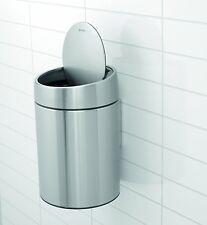 Brabantia Bathroom 5L Slide Bin Matt Steel Fingerprint Proof Wall Mounting