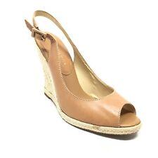 Women's Ivanka Trump Ediana Slingback Wedge Sandals Shoe Size 10 Tan Leather A10