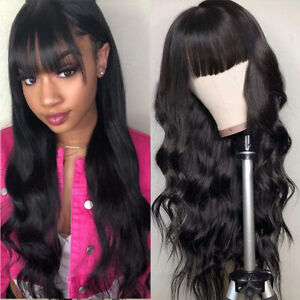 26 inch Body Wave Wig With Bangs Virgin Brazilian None Lace Front Wigs Hair Wigs