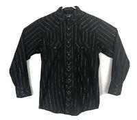 Vtg Authentic Wrangler Black Pearl Snap Western Shirt Black Silver Striped Sz M
