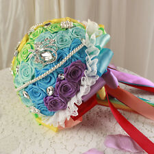 Rainbow Color Brooch Bridal Wedding Bouquet Rhinestone Pearl Crystal Silk Flower