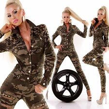 Womens Skinny Jeans Jumpsuit Top Ladies Camouflage Clubbing Overall Size 6 8 10