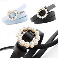 Faux Leather Belt Women Fashion Sweet Belt Pearl Buckle Decorative Belt GiftsJC
