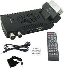 Mini Decoder digitale terrestre TV DVB T2 piega 180° full HD 1080p 1920p scart