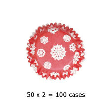 Culpitt 108 x SNOWFLAKE-RED 50mm Standard Cupcake Cup Cake Muffin Baking Cases