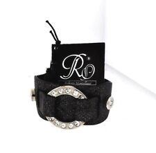 Roberto Mantellassi Sparkle Black Leather Cuff Bracelets