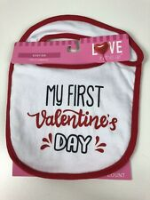 #1923 MY 1ST VALENTINES DAY WHITE BABY BIB GIRL RED TRIM PINK//RED LTRS NEW W//TAG