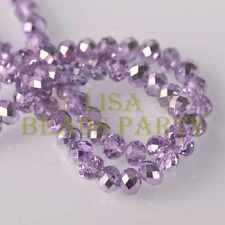 Hot 30pcs 10x8mm Faceted Rondelle Charm Loose Glass Spacer Beads Light Purple