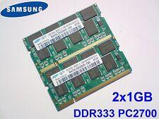 2GB 2x1GB PC2700 DDR333 CL2.5 SAMSUNG NOTEBOOK LAPTOP PORTATILE SODIMM RAM