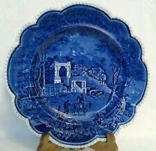 Antique John Rogers Staffordshire Dark Blue Transferware Musketeer Plate c1820