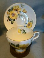 Vintage Cup & Saucer yellow Floral English Bone China Consort Made in England