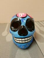 Sugar Skull Hand Painted Day Of The Dead Decor Ceramic Sculpture Blue Pink Flowe