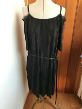 blossun black pleated dress with ribbon belt large bnwt open shoulder lace