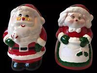 Vintage Father Christmas Mrs Claus Salt & Pepper Cruet Set Kitsch Table Wear Old