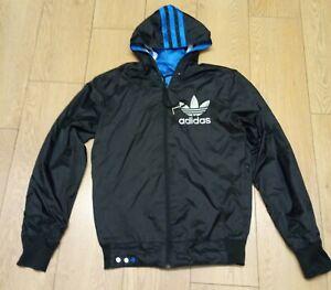 Adidas Reversible Jacket Size Small Black/Blue Showerproof Big logo