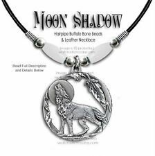 Wolf Moon Shadow Buffalo Bone Choker Necklace Wolves Western Art - Free Ship #W