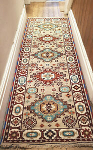 100% soft Wool Tribal rug 83x250cm Quality Hand Made runner Pale Grey, Blue SALE