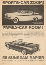 1958 Classic Car AD '58 SUNBEAM RAPIER 3 position convertible more 072916