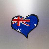 Love Australia Flag Patch — Iron On Badge Embroidered Motif — Heart Biker