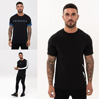 NIMES Mens Designer Fashion Long & Short Retro Crew Neck Black T Shirt Tee Top
