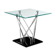 Premier Contemporary Square Side Table, Tempered Glass Top, Chrome & Black Base