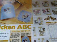 CROSS STITCH CHART ALPHABET CHARTS CHICKEN BIRDS LETTERS FARM BIRDS CHICKENS