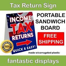 "Portable TAX RETURN Sign 18"" x 24"" Corrugated Plastic A-Frame Sandwich Board"