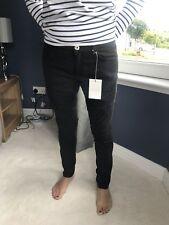 NEW Pierre Balmain Skinny Black Biker Style Jeans UK10 W30 / 44 (1304)