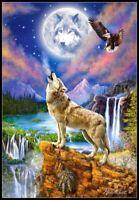 Wolf's Night - Chart Counted Cross Stitch Pattern Needlework Xstitch Craft DIY