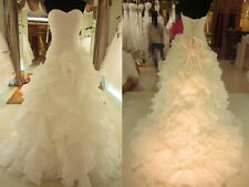 New White/Ivory Long Train Elegant Strapless Organza Wedding Dress Bridal Gown