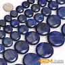 "Blue Lapis Lazuli Gemstone Coin Flat Beads For Jewelry Making Strand 15"" YB"